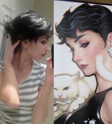 Adam Hughes Catwoman Wig WIP by langdons