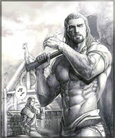 Argis and his master.(skyrim) by aenaluck