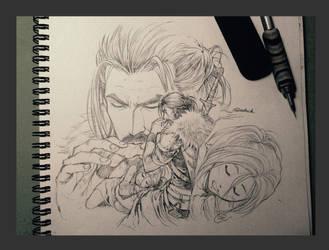 Carlnes and Ellana sketch version by aenaluck