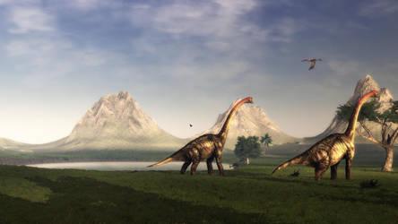 Brachiosaurus walking by Ikechi1