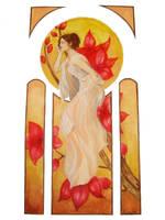 Mucha Inspired watercolor2 by Mekya421