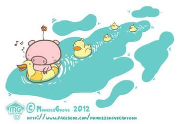 Piglet and ducks by bananasjuice