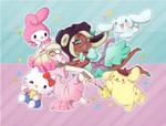 RE-DRAW Splatfest Sanrio by Momo-Kuun