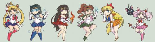 Sailor Moon Chibis by amasugiru