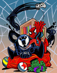 Venom and Spidey Chibies by joriley
