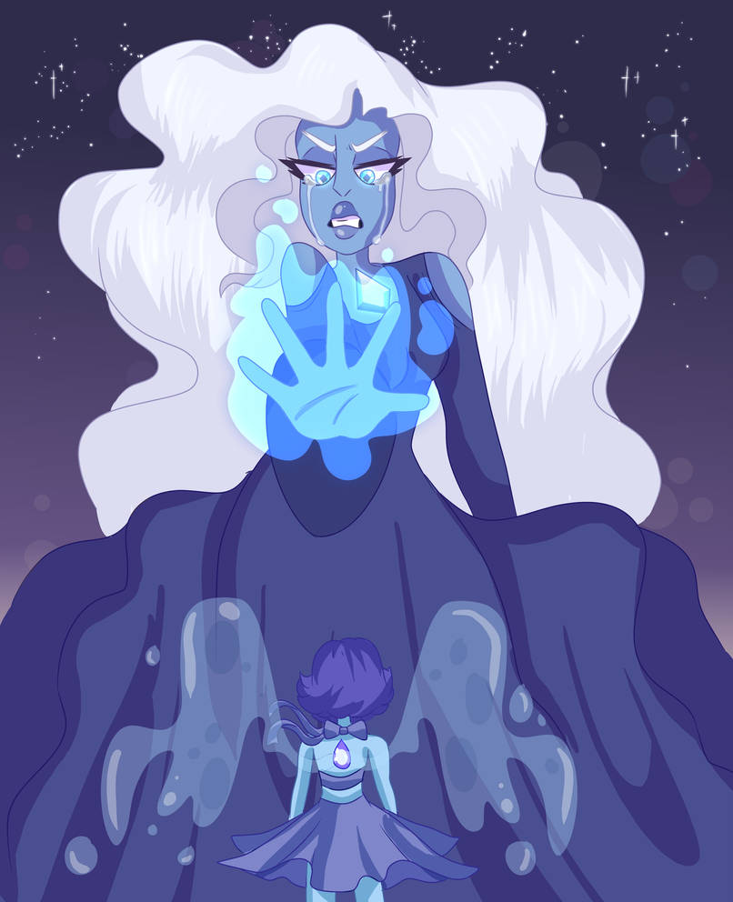 A redraw of an older drawing I made of Blue Diamond and Lapis facing off. I'm pretty sure that drawing was based off an old crewniverse sketch but I can't find it anymore so rip. T-T Here's the old...