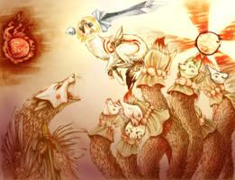 The fall of Oni Island- Okami by TaintedDNA
