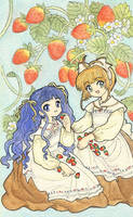Tomoyo and Sakura-Strawberries by Arwen-chan