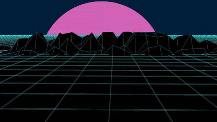 vaporwave 3D grid background by HyperHair