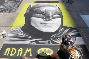 Adam West - Chalk Art - Artist: Shaine Joel by shadow-tw