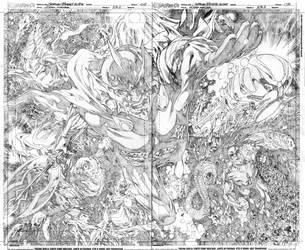 Aquaman#23.2 Ocean Master double page 2-3 pencils by geraldohsborges