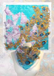 silk scarf Peacock Lilacs  - FOR SALE by MinkuLul