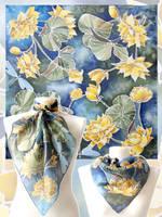 silk scarf Waterlilies - for sale by MinkuLul