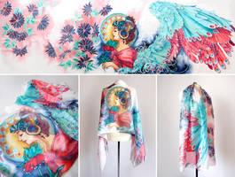 silk scarf Fire and Ice Angel by MinkuLul
