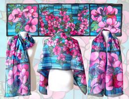 silk scarf Hummingbird by MinkuLul