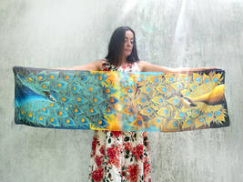 Peacock scarf on ligth silk by MinkuLul