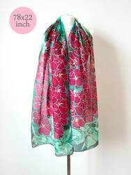 Hollyhock scarf custom size by MinkuLul