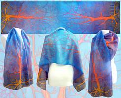 Fiery silk scarf complementary colors by MinkuLul