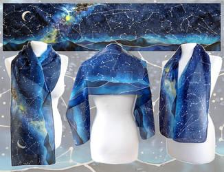 Starry Night silk scarf by MinkuLul