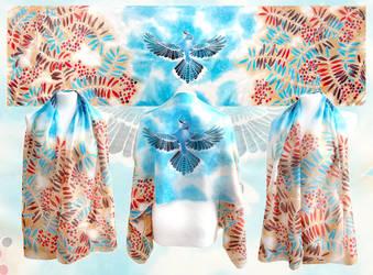 Blue Jay and Rowan scarf by MinkuLul