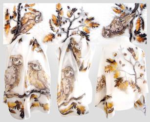 Horned Owls silk scarf - for sale by MinkuLul