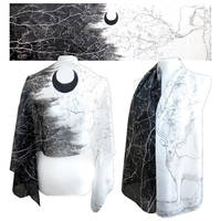 Black Moon and Forest God on silk scarf by MinkuLul