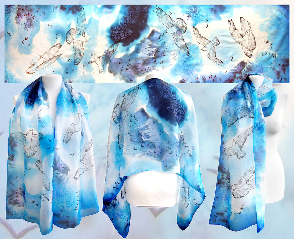 Silk scarf Seagulls hand painted by MinkuLul