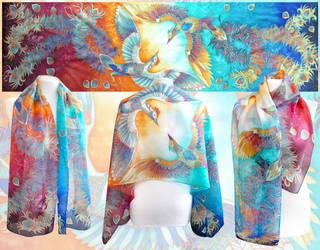 Birds Of Paradise silk scarf by MinkuLul