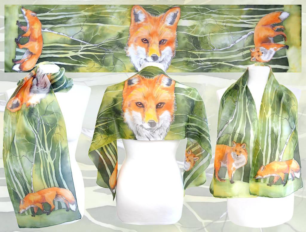 Fox silk scarf like watercolor by MinkuLul