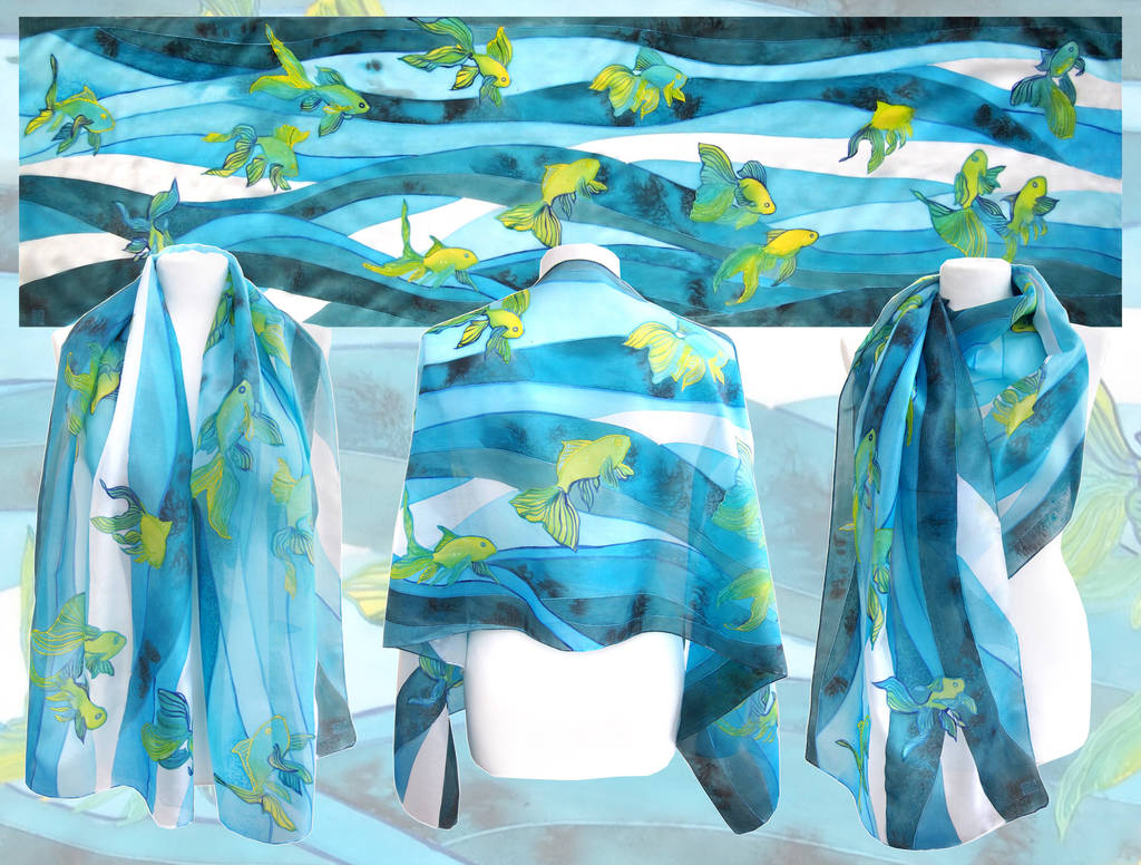Veiltail Gold Fish silk scarf by MinkuLul