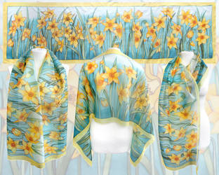 Silk scarf Daffodils hand painted by MinkuLul
