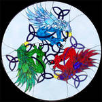 Celtic Gryphons Stained Glass by buckskinmare