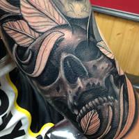 Skull tattoo sleeve by craig Holmes by CraigHolmesTattoo