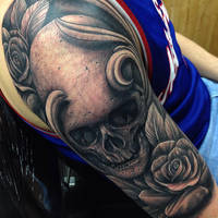 Skull and Roses sleeve tattoo by Craig Holmes by CraigHolmesTattoo