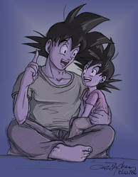 Bedtime Story 2: Goku n' Goten by lauraneato