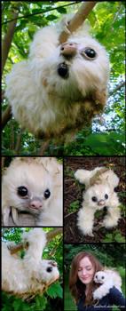 Baby Moss-Sloth, Handmade Fantasy Creature by RikerCreatures