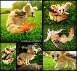 Flighted Fennec Fox - OOAKPosable Fantasy Creature by RikerCreatures