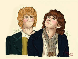 Merry and Pippin by LoverRevolveri