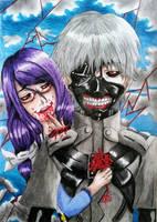 Tokyo Ghoul - Kaneki and Rize by joereynolds