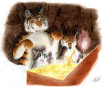 Tiger Fox Raccoon and Treasure by SheltieWolf