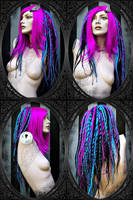dark-pink turquoise black wig by LunaticDolls