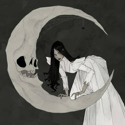 Drawlloween 2017 - Man in the Moon by AbigailLarson