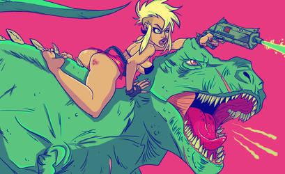 dinosaur laser battle by kayliesaurus-rex