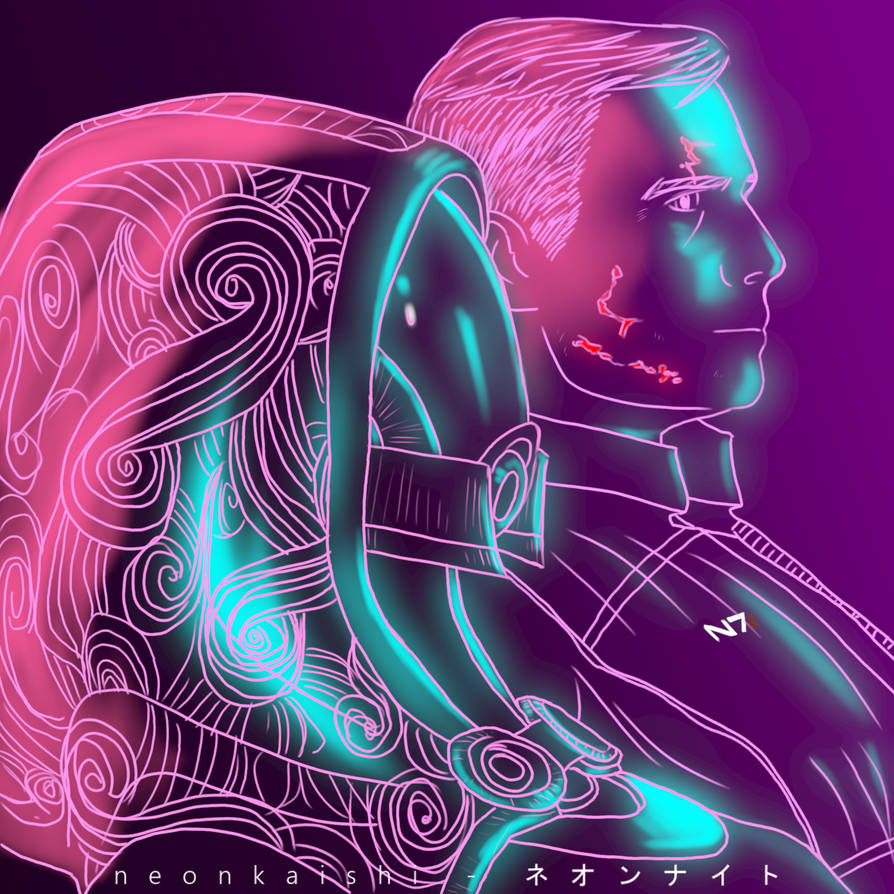 The quarian and her Shepard by neonkaishi