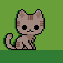 Pixel Grey Tabby Cat by YellowFog4
