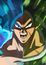 Destined Rivals: Goku and Broly by CELL-MAN