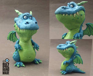 Funny Blue Dragon by buzhandmade