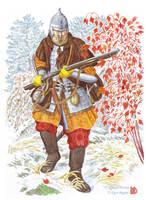 Heavily armed Cossack of Khabarov's expedition. by Nikkolainen