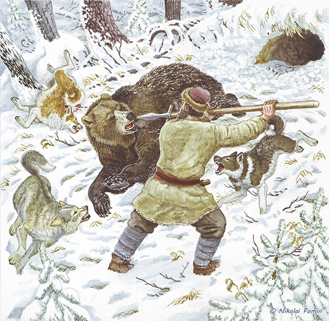 Hunting bear with spear. by Nikkolainen
