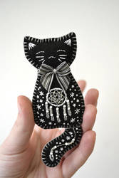 Black and Silver Night Kitten felt brooch by Ailinn-Lein